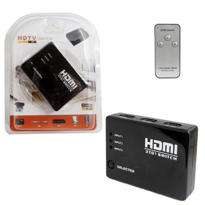 Адаптер HDMI Swicth+Remote 3x1 Port с пультом 4K (black) в блистере