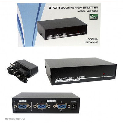 Разветлитель VGA Splitter 1x2 2Port (black) VGA-2002