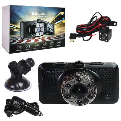 Авто-видеорегистратор  T696 2V1 угол 125*, экран 3.5 дюйм с 2-мя камерами