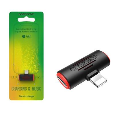 Аудио-Переходник Borofone BV6 dual Lightning digital audio converter (Black)